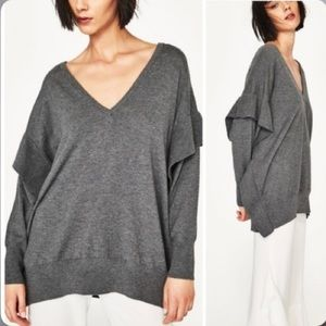 Zara Knit Long Sleeve with Ruffled sides